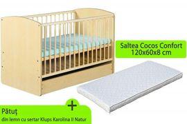 Patut cu sertar KLUPS Karolina II Natur + Saltea 8 MyKids Confort II