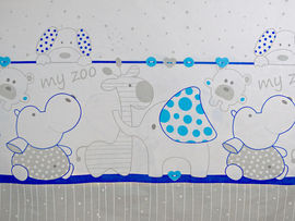 Lenjerie MyKids My Zoo Albastru 4 Piese 140x70