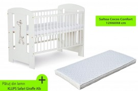 Patut fara sertar KLUPS Safari Giraffe Alb + Saltea 8 Cocos Confort II