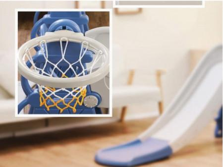 Tobogan MyKids cu leagan, cos de basket si poarta Blue