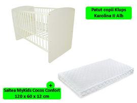Patut Klups Karolina II Alb + Saltea 12 MyKids Confort