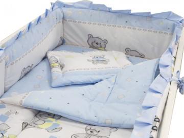 Lenjerie MyKids Teddy Toys Albastru 4 Piese 120x60