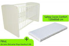 Patut Klups Karolina II Alb + Saltea 8 MyKids Confort II