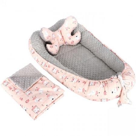 Set 3 in 1 Babynest Minky, paturica si perna Infantilo IF19097
