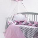 Lenjerie MyKids 8 piese Gray-Pink cu baldachin 120x60 cm