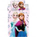 Set lenjerie pat copii Frozen Anna and Elsa 100x135 + 40x60 SunCity JFK020869