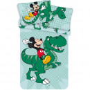 Set lenjerie pat copii Mickey Dino 100x135 + 40x60 SunCity JFK024775