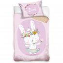 Set lenjerie pat copii Rabbit Sweet 100x135 + 40x60 SunCity CBX203002BABY