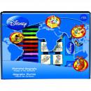 Set educativ cu stampile Geografia Disney 23 piese, 7 stampile, tus, 12 carioci, rigla, harta lumii si caiet cu activitati Multiprint MP1938