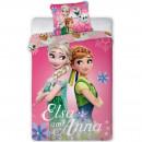 Set lenjerie pat copii Frozen Elsa and Anna 100x135 + 40x60 SunCity FRA576487