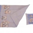 Lenjerie MyKids Bear On Moon Blue 3 Piese 140x70