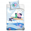 Set lenjerie pat copii Peppa Pig Dreaming of the Sea 100x135 + 40x60 SunCity CBX202012PP