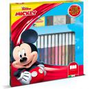 Set pictura 22 piese, 2 stampile, tus, 18 carioci si caiet cu activitati Mickey Multiprint MP86945
