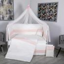 Lenjerie MyKids 11 piese Cream roz cu baldachin 120x60 cm