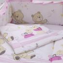 Lenjerie MyKids Teddy Play Pink M1 7 Piese 140x70 cm