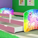 Patut Tineret MyKids Rainbow Unicorn cu Sertar si Saltea 160x80