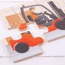 Set 3 puzzle din lemn - Vehicule pentru constructii