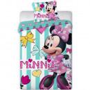 Set lenjerie pat copii Minnie Turquoise Stripes 100x135 + 40x60 SunCity FRA554454