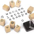 Set tusiera si stampile din lemn - Alfabet