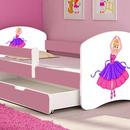 Patut Tineret MyKids Ballerina cu Sertar si Saltea MyKids 140x70