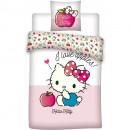 Set lenjerie pat copii Hello Kitty Apples 100x135 + 40x60 SunCity BRM006034