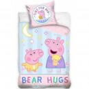 Set lenjerie pat copii Peppa Pig Bear Hugs 100x135 + 40x60 SunCity CBX195007PP