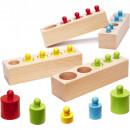 Joc educativ Cilindri din lemn colorati, cu greutati Ikonka IK17744