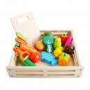 Set Ladita cu fructe si legume din lemn pentru feliat XXL Kruzzel MY17514