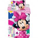 Set lenjerie pat copii Minnie Lovely Little Lady 100x135 + 40x60 SunCity JFK014547
