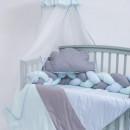 Lenjerie MyKids 8 piese Gray-Blue cu baldachin 120x60 cm