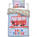 Set lenjerie pat copii Peppa Pig Road Trip 100x135 + 40x60 SunCity BRM005983