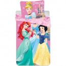 Set lenjerie pat copii Princess Ariel, Cinderella and Snow White 90x140 + 40x55 SunCity CTL79825A