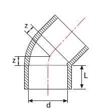 Cot PVC-UH 45°