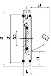 Clapeta de sens PVC-UH pentru flanse