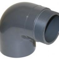 Cot PVC-UH 90° PRO-FIT cu filet exterior
