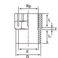 Mufa PVC-UH redusa cu filet interior+lipire