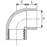 Cot PVC-UH 90° cu filet interior+lipire