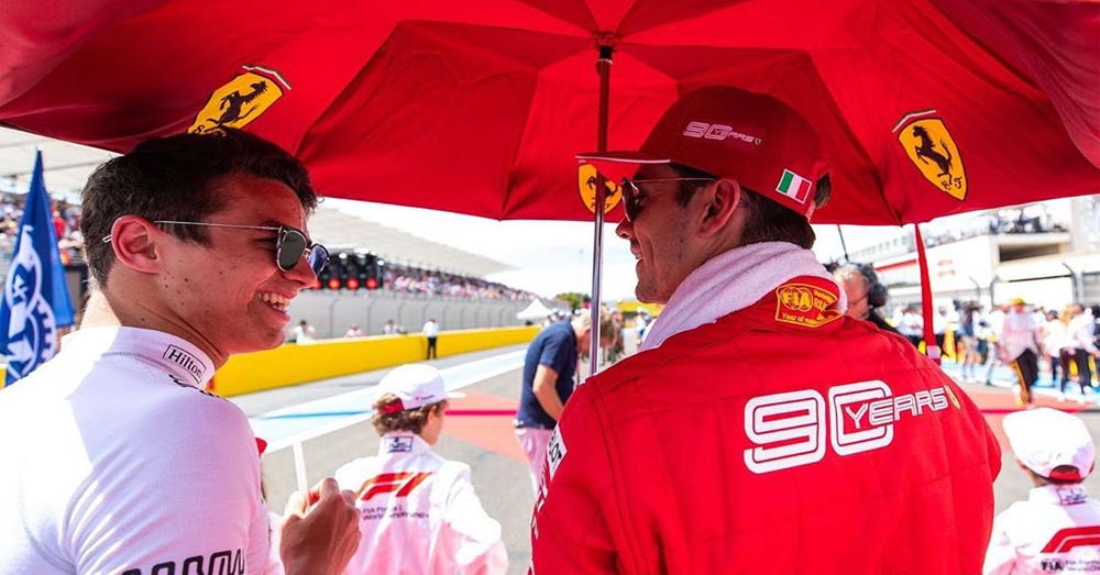 Watch: clip of Ferrari's Charles Leclerc reacting to Lando Norris ...