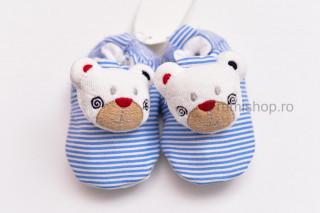 Pantofiori bebelusi - Ursuleti (dungi alb-bleu)