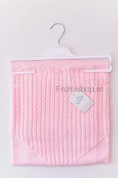 Patura tricotata Inima (roz) - 85x85 cm
