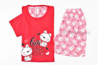 Pijamale dama pentru vara (rosu) - Love Mom