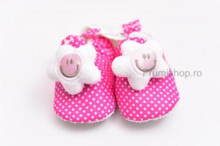 Pantofiori bebelusi - Stelute (fucsia)