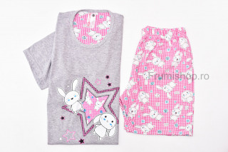 Pijamale dama pentru vara (gri/roz) - Steluta