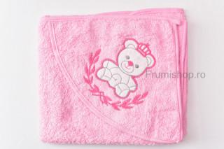 Prosop cu gluga - Ursulet (roz) - 80x75 cm