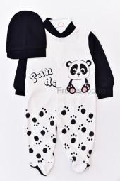Salopeta Panda - cu caciula