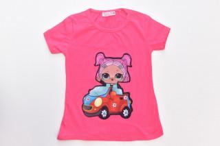 Tricou Fetita cu Masina - Corai