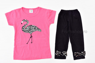 Compleu 2 piese Flamingo (roz inchis)