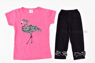 Compleu 2 piese Flamingo (roz inchis)