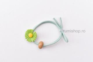 Elastic pentru par - Floricica (verde deschis)