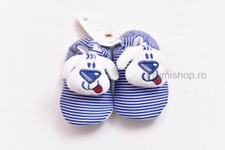 Pantofiori bebelusi - Catelus (dungi alb-albastru)